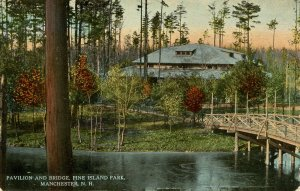 NH - Manchester. Pine Island Park, Pavilion and Bridge