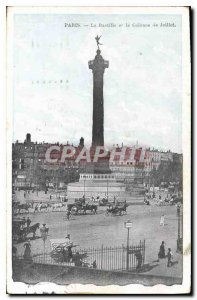 Old Postcard Paris Bastille and the July Column