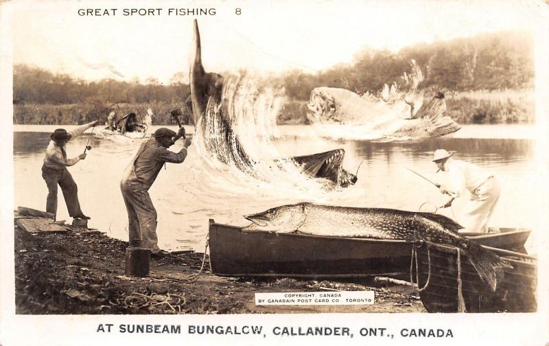 Callander Ontario~Sunbeam Bungalow~Exaggerated Fish~Northern Fills Boat~'47 RPPC