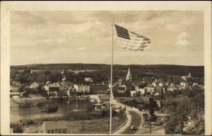 Machias ME & American Flag c1940 Real Photo Postcard