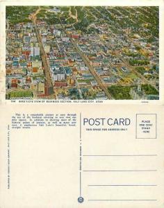 Bird's-Eye View of Business Section, Salt Lake City, Utah, UT, Linen