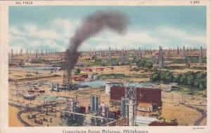 Oklahoma Greetings From Bristow Showing Typical Oil Field Curteich