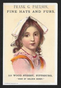 VICTORIAN TRADE CARD Frank Paulson Fine Hats & Furs Young Lady