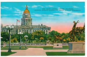 Colorado  Denver  State Capitol  Showing Broncho Buster and Indian Warrior Mo...