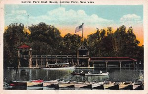 Central Park Boat House, New York, N.Y., Early Postcard, used in 1924