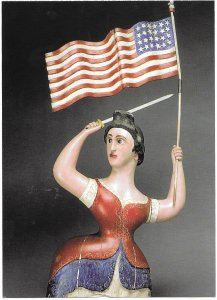 US Patriotic Postcard. 19th Century of a woman with 24 star flag. issued 2003