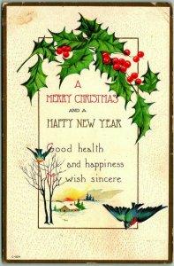 Vintage CHRISTMAS / Happy New Year Greetings Postcard Bluebird / Holly c1910s