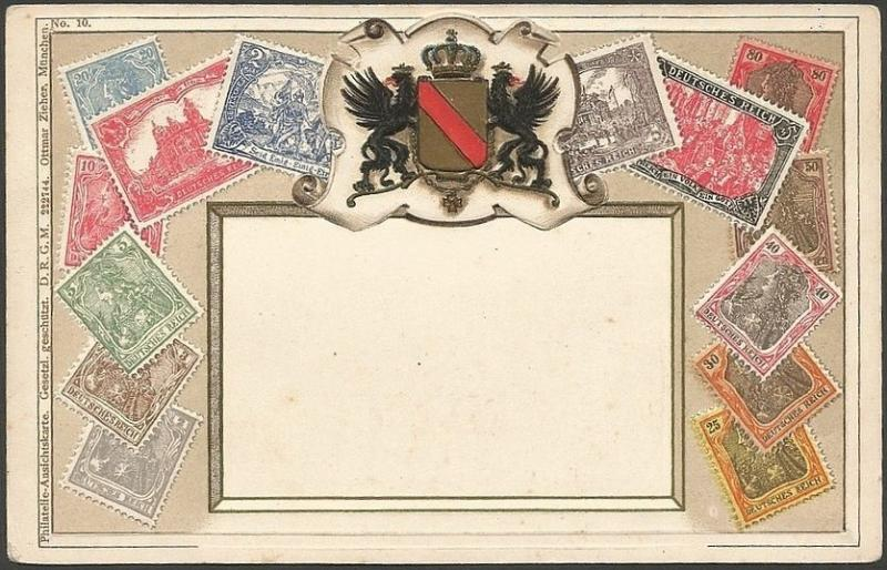Stamps of GERMANY embossed postcard by Ottomar Zieher Coat of Arms used 1905