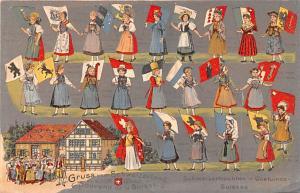 Switzerland Old Vintage Antique Post Card Schweizertrachten Costumes Unused