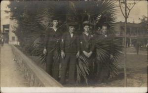 US Navy Sailors & Palm - Cuba or Mexico? Possibly Veracruz Real Photo Postcard