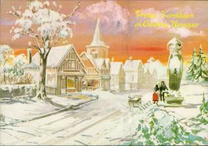 winter street scene art illustration Merry Christmas Happy New Year