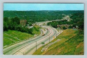 Zanesville OH- Ohio, Modern Expressway Interstate 70, Aerial,Chrome Postcard