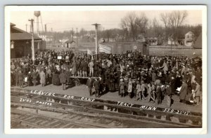 Tracy MN~WWI Soldiers Leave for Camp~Train Depot Patriot Crowd~Feb 23 1918 RPPC