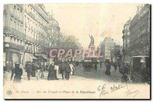 Old Postcard Paris Rue du Temple and place de la Republique