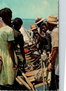 Martinique 1960s Chrome Postcard: Black People FISHERMAN - POSTED