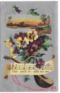 Pansies Flowers and Mandolin on Silver Moire 1909 Postcard