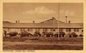 Headquarters Cars Hammer Army Air Field Fresno California WWII postcard
