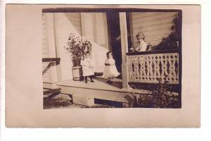 Real Photo, Woman on Porch with Two Small Children, Velox