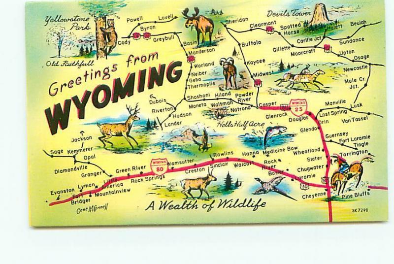 Postcard Wyoming Map Greetings Devils Tower Gillette Mule Free ... on