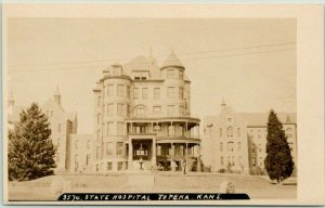 TOPEKA, Kansas RPPC Real Photo Postcard STATE HOSPITAL Building View c1910s