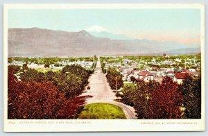 Colorado Springs~Birdseye Down Main Street to Pikes Peak~Homes~1900 Detroit Pub