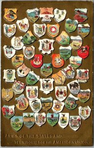 1910s Embossed Coats of Arms Postcard Emblems of States & Territories UNUSED