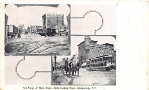 Schenectady New York~State Street Vignettes~Lorraine Block~Trolleys~c1901