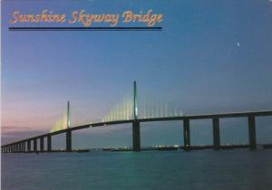 Florida Sunshine Skyway Bridge Across Tampa Bay At Night
