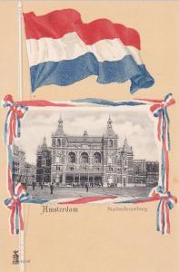 Amsterdam & Flag , HOLLAND [Netherlands] , 1900-10s ; Stadsschouwburg