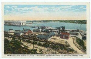Power Plant, Government Lock and Dry Dock at Keokuk, Iowa IA, White Border