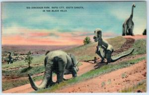 RAPID CITY, South Dakota SD   Roadside  DINOSAUR PARK c1940s Linen Postcard
