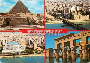 Modern Postcard Greetings from Egypt Giza The pyramids of Chefren and the Sph...