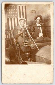 RPPC Patriotic Gents Ride in c1912 Auto~Studio Prop~48-Star Flag~Driver Smokes