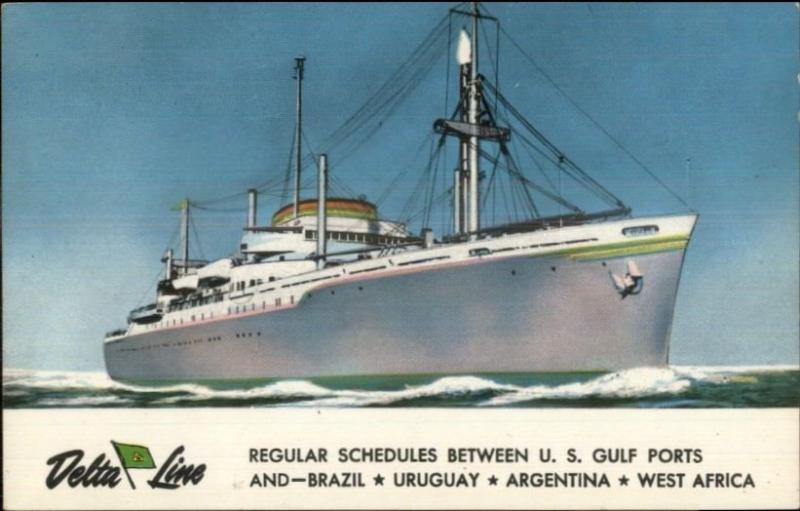 Delta Line Steamship US Gulf Ports & South America c1950 Postcard