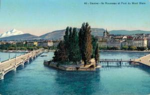 Switzerland Genéve Ile Rousseau et Pont du Mont Blanc 02.81