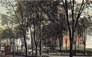 Easton Pennsylvania~Easton High School from Behind Trees~Houses in Bkgd~c1910 Pc