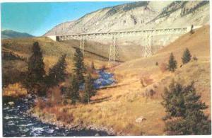Sheepeater Canyon Bridge, Yellowstone Park, Wyoming, WY, Chrome