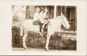 Three Children on White Horse Unused Real Photo Postcard F85