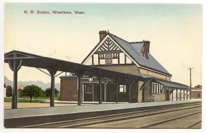 Wrentham MA Railroad Station Train Depot Published by A.C. Mason Postcard