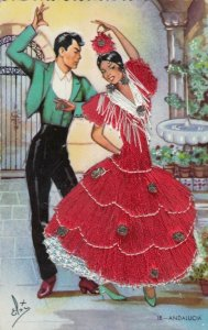 ANDALUCIA, Portugal, 1930-40s; Dancers, Female in embroidered red dress