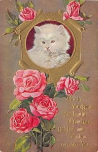White Cat Portrait~Green Eyes~Gold Scroll Frame~Pink Roses Climb~Embossed~1912