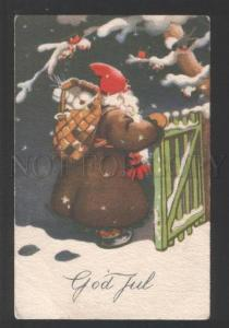 120622 Brown-Robed SANTA CLAUS w/ Toys GIFTS Vintage PC