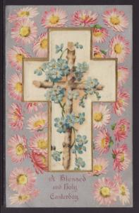 A Blessed and Holy Easter,Cross,Flowers