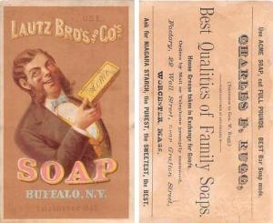 Approx Size Inches = 3.25 x 5.25 Lautz Bros & Co Soaps Trade Card