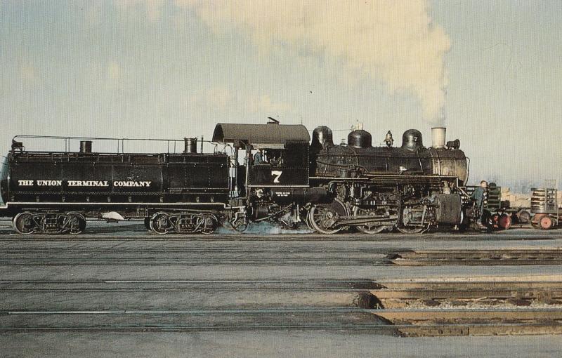 Dallas Union Terminal Number 7 Postcard Railroad Steam Train