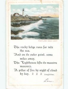 Divided-Back LONGFELLOW POEM WITH LIGHTHOUSE SCENE Portland Maine ME F0001