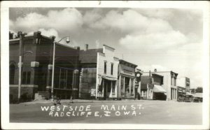 Radcliffe IA Westside Main St. 1942 Used Real Photo Postcard