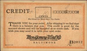 Baltimore MD Montgomery Ward & Co 10cent Credit Postcard 1928
