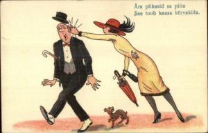 Pretty Woman Slaps Man Wearing Suit in Face - c1915 Postcard