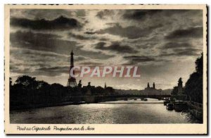 Old Postcard Paris night Perspective on the Seine Eiffel Tower